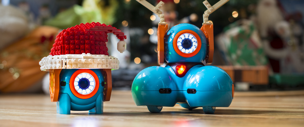 Robots with Christmas decor 1