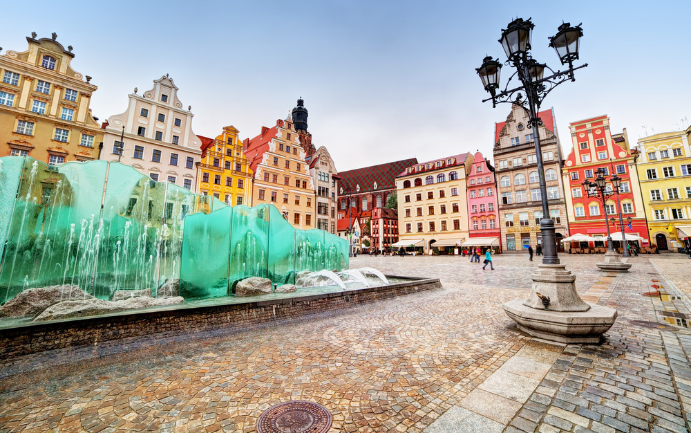 Wroclaw, Poland. The market square with the famous fountain and colorful historical buildings. Silesia region.